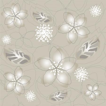 Seamless silver flower wallpaper pattern Stock Vector - 14604122