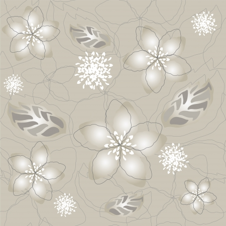Seamless silver flower wallpaper pattern Vector