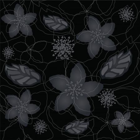 Naadloze zwart en zilver bloemen behang patroon
