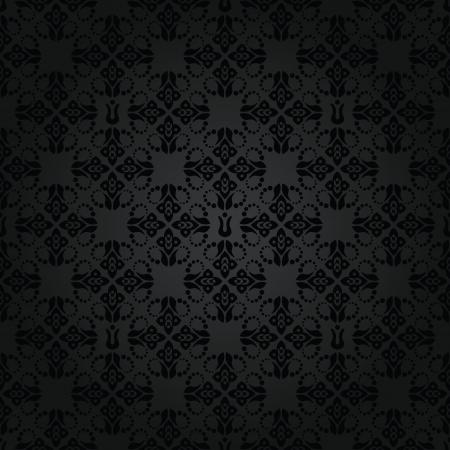 Naadloze zwarte kleine florale elementen behang patroon Stock Illustratie