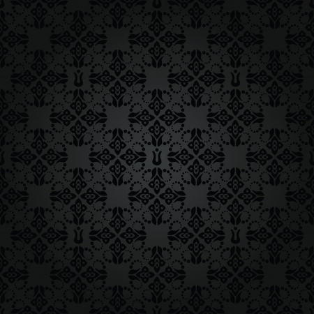 Seamless black small floral elements wallpaper pattern Illustration