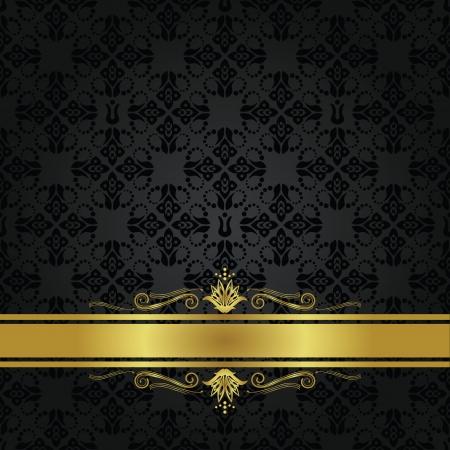 Naadloze kleine zwarte elementen en gouden lint omslag Stockfoto - 15312026