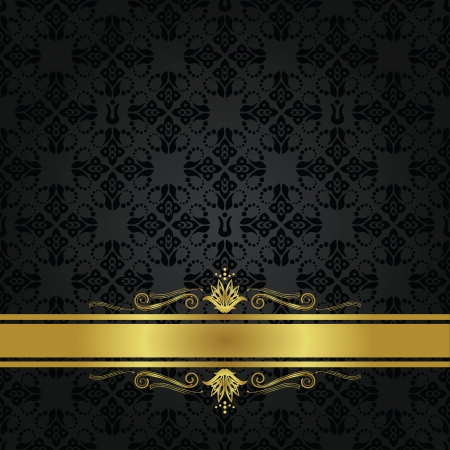 gold floral: Seamless small black elements and gold ribbon cover Illustration