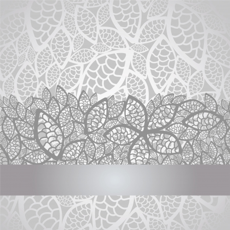 Luxury silver leaves lace border and background Stock Illustratie