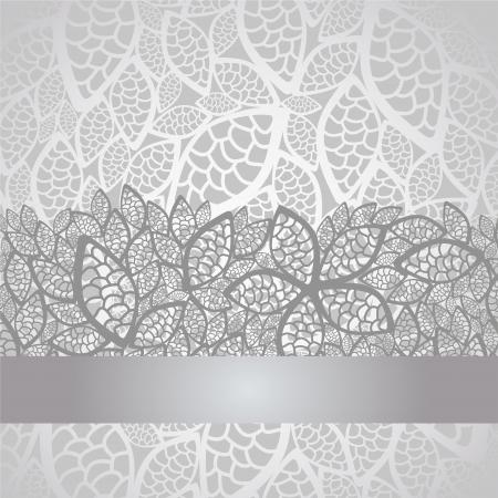 Luxe zilveren verlaat kanten rand en achtergrond Stock Illustratie
