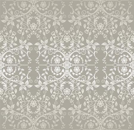 uitnodigen: Naadloze zilveren kant bloemen en bladeren wallpaper Stock Illustratie
