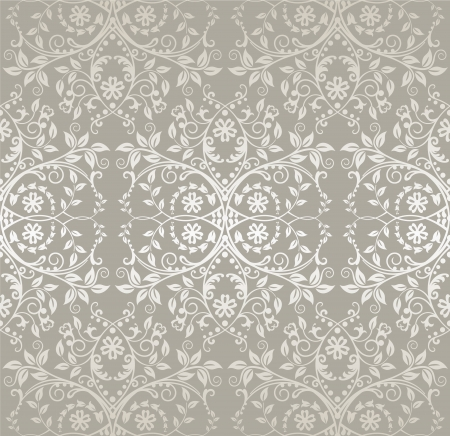 Seamless silver lace flowers and leaves wallpaper Vector