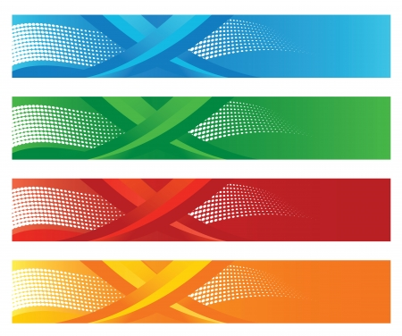 Set van vier seizoensgebonden halftoon digitale banners illustratie Stock Illustratie