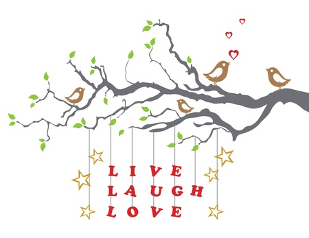 Love birds on a tree branch with live laugh love Stock Vector - 16945251