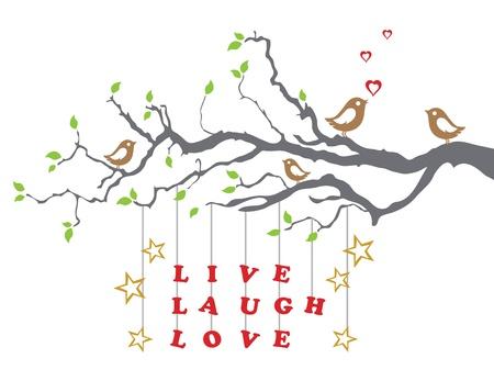 Vogels op een boomtak houden met levende lachliefde Stock Illustratie