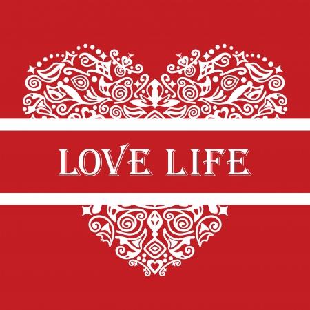Hou van het leven wit gedetailleerde hart ornament op rood