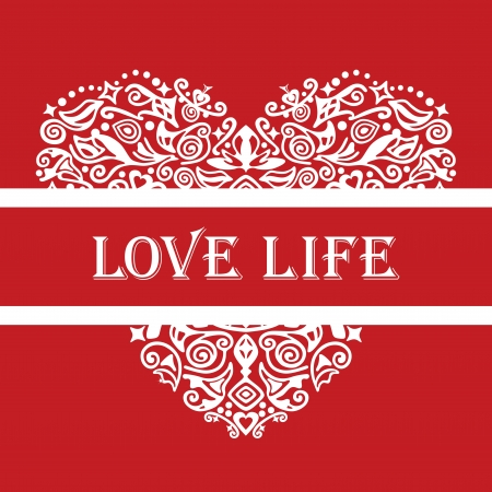 Love life white detailed heart ornament on red Stock Vector - 16945248