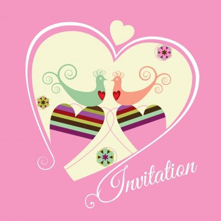 Engagement sparen datum roze uitnodiging Stock Illustratie
