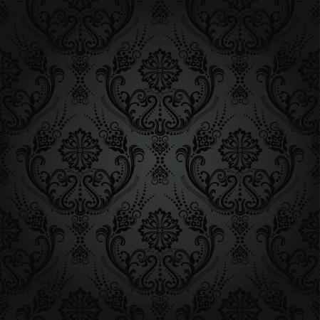 シームレスな高級黒い花ダマスク織壁紙パターン