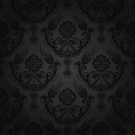 Seamless floral noir de luxe papier peint de damassé modèle