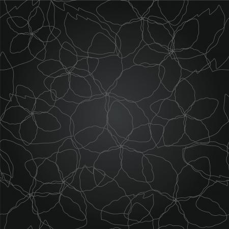 Naadloze bloemen dunne zilveren lijnen zwart behang patroon Stock Illustratie