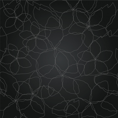 Seamless floral thin silver lines black wallpaper pattern
