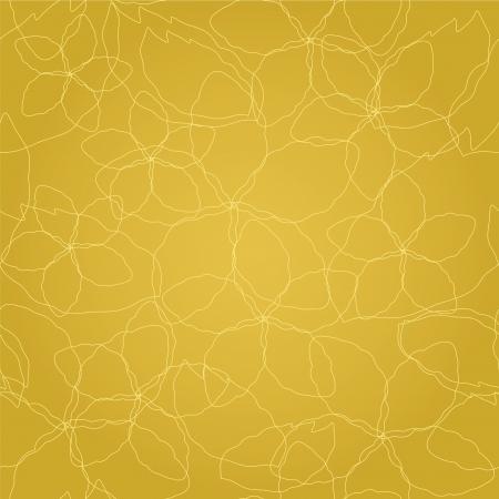 Naadloze bloemen dunne gouden lijnen op gouden behang patroon