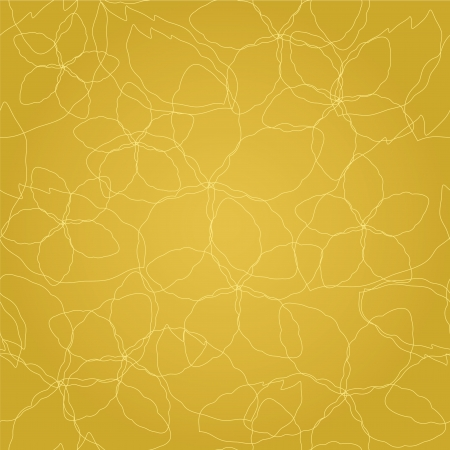 Seamless floral thin golden lines on gold wallpaper pattern Illustration