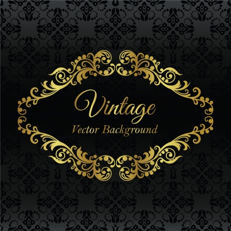Golden vintage frame on black seamless wallpaper pattern
