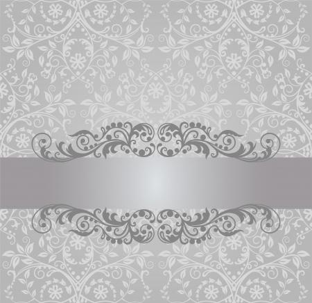 uitnodigen: Naadloze zilveren blad behang en vintage banner Stock Illustratie