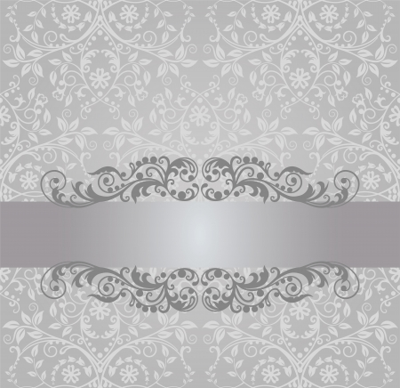 Seamless silver foliage wallpaper and vintage banner Vector