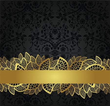 Naadloos zwart behang en gouden kant banner Stock Illustratie