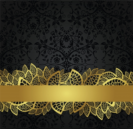 Seamless black wallpaper and golden lace banner Vector