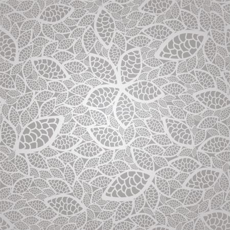 Naadloze vintage zilveren kant verlaat wallpaper patroon