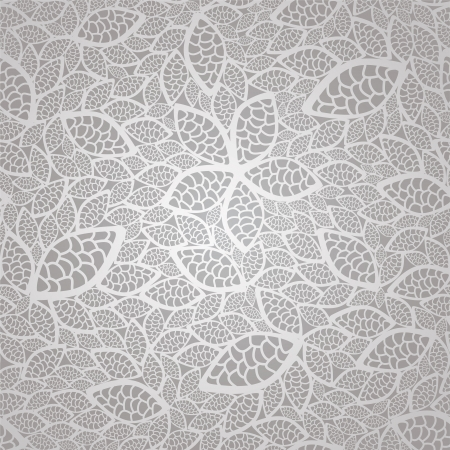 Seamless vintage silver lace leaves wallpaper pattern Vector