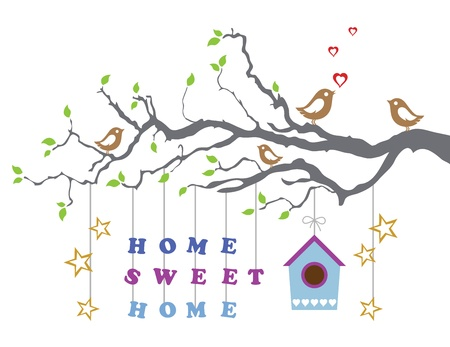 home moving: Home sweet home moving-in new house greeting card Illustration