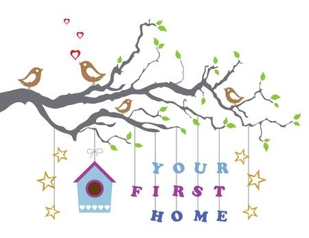 Je eerste huis bewegen-in wenskaart Stock Illustratie