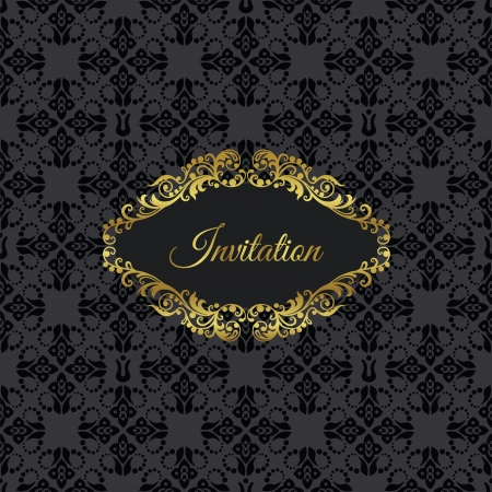 Golden vintage frame invitation on black seamless floral pattern