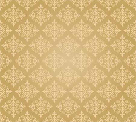 Naadloos gouden bloemenbehang ruitpatroon