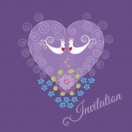 Paarse uitnodiging met twee liefde vogels, hart ornament, wervelingen en bloemen