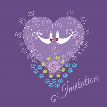 Purple invitation with two love birds, heart ornament, swirls and flowers    Illustration