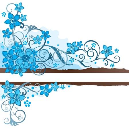 Bruine grunge banner met turkooise bloemen en swirls Stock Illustratie