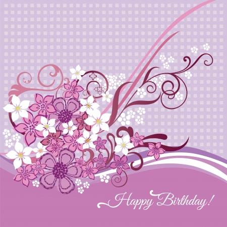 Vrouwelijke happy birtday kaart met roze en witte bloemen en wervelingen