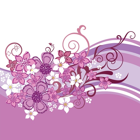 Pink and white flowers and swirls border isolated on white background. This image is a vector illustration. Vector