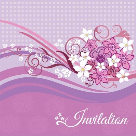 Uitnodigingskaart met roze en witte bloemen op roze achtergrond. Deze afbeelding is een vector illustratie. Stock Illustratie