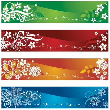 four season: Four seasonal banners or bookmarks with flowers and snowflakes design. This image is a vector illustration. Illustration