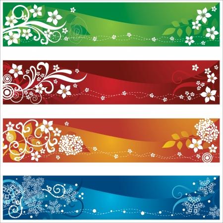 Vier seizoensgebonden banners of bladwijzers met bloemen en sneeuwvlokken ontwerp. Deze afbeelding is een vector illustratie.