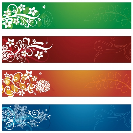 four season: Set of four seasonal flowers and snowflakes banners illustration. Illustration