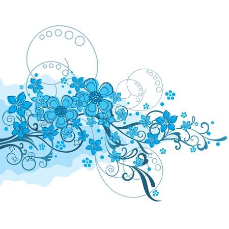 flores de cumplea�os: Flores de color turquesa y remolinos ornamento en blanco aislado Ilustraci�n.