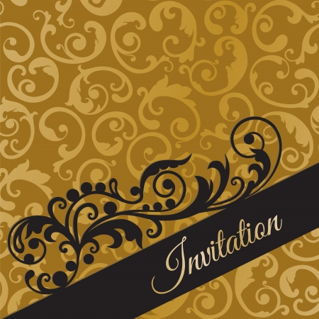 Luxury black and gold invitation with seamless swirls wallpaper background illustration.