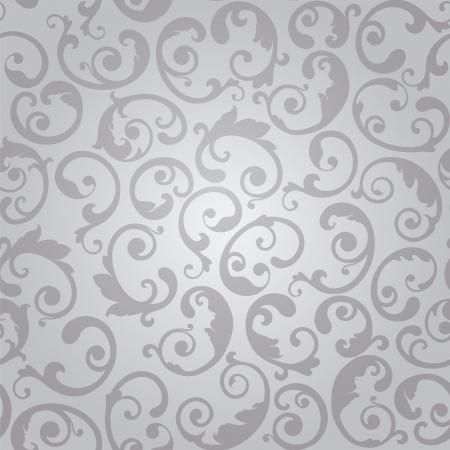 Naadloze zilveren wervelingen bloemen behang patroon illustratie.
