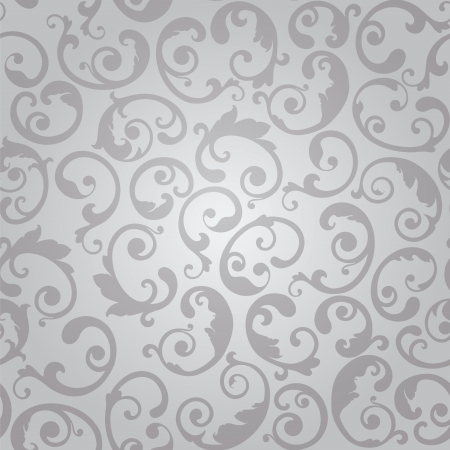 continuous: Seamless silver swirls floral wallpaper pattern illustration. Illustration