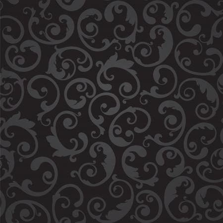 Naadloze zwart en grijs wervelingen bloemenbehang babbel illustratie.