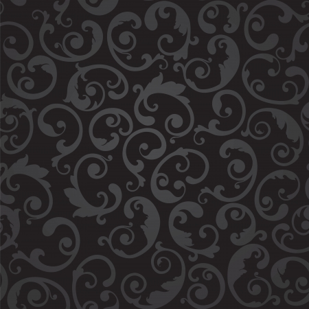 Seamless black and grey swirls floral wallpaper patter illustration. Vector