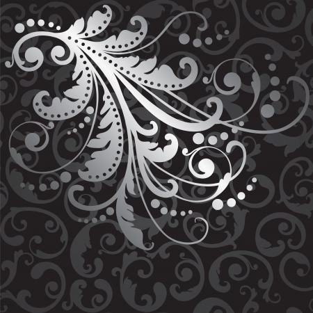 Floral silver design element on seamless black swirls wallpaper pattern illustration.